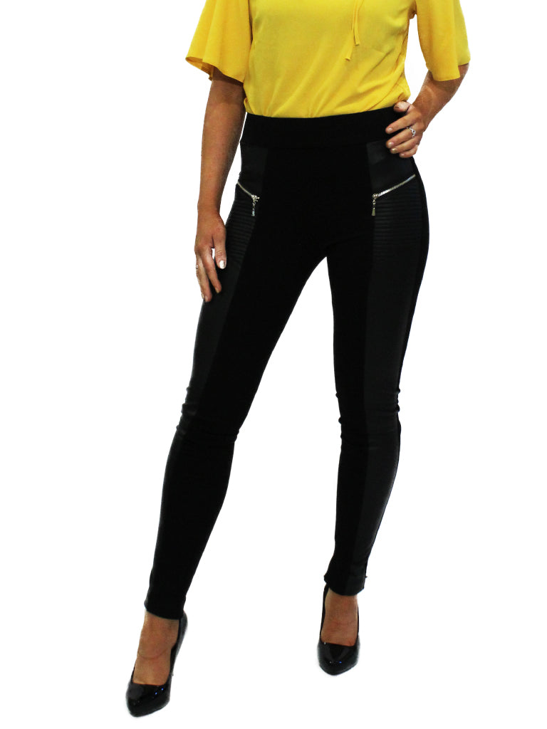 Black pleather/cloth jeggings with zip detail