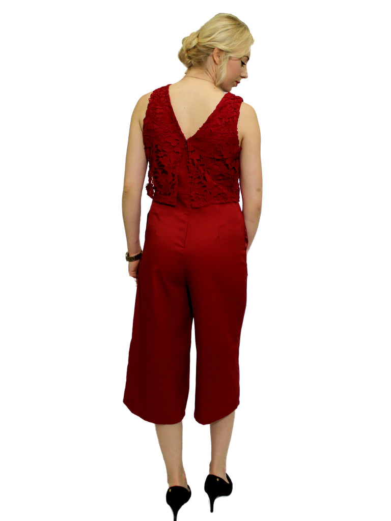 Burgundy lace top 3/4 length jumpsuit