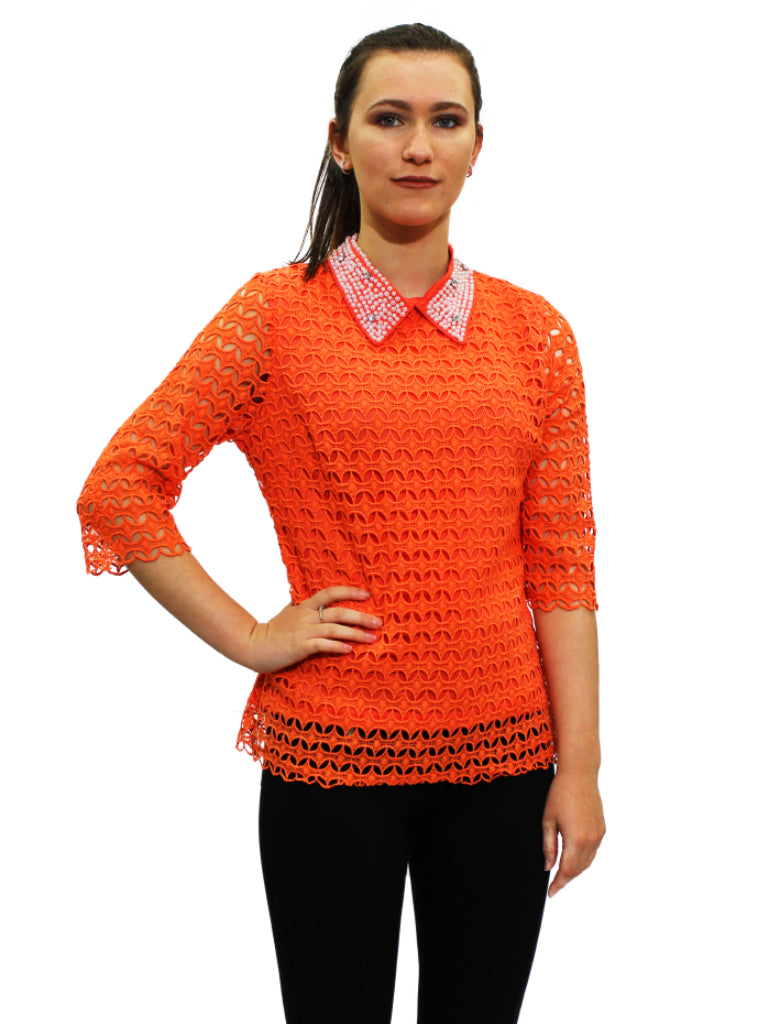 Coral crochet top with pearl collar detailing