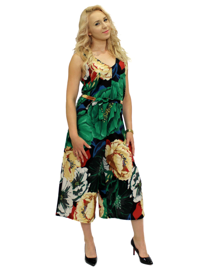 Green floral print 3/4 length jumpsuit
