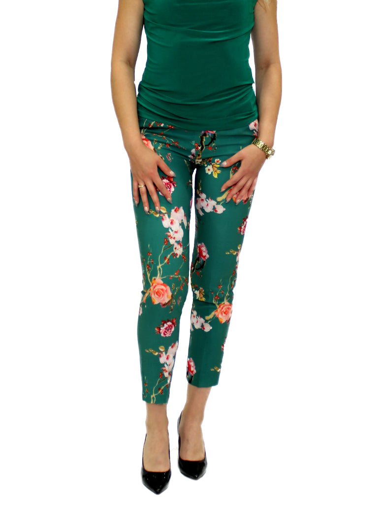 Green print trousers