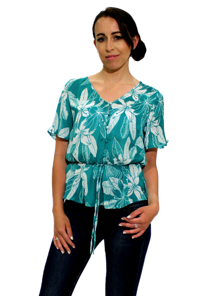 Green tropical print tie top