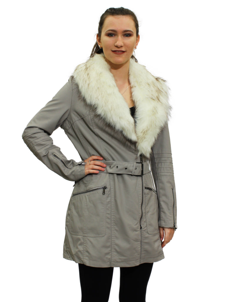 Grey pleather coat with fur trim