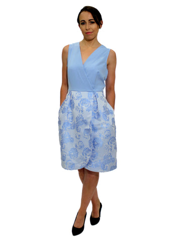 White Dip Hem Off Shoulder Dress with Blue Floral Design