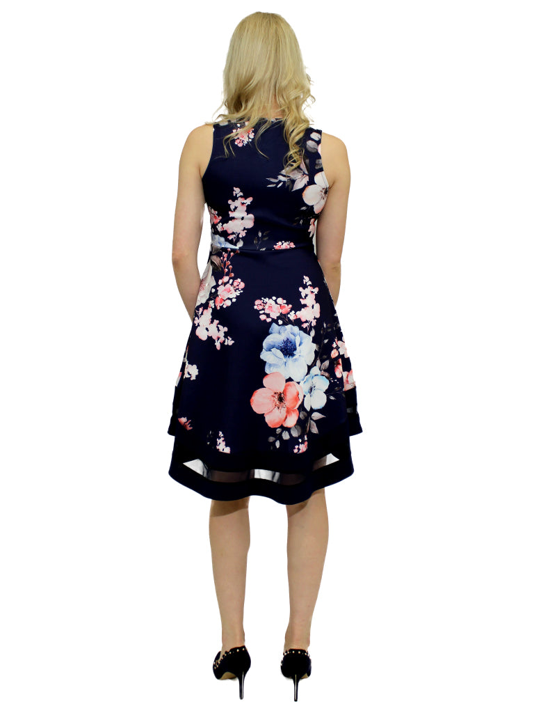 Navy and blush pink floral up/down dress