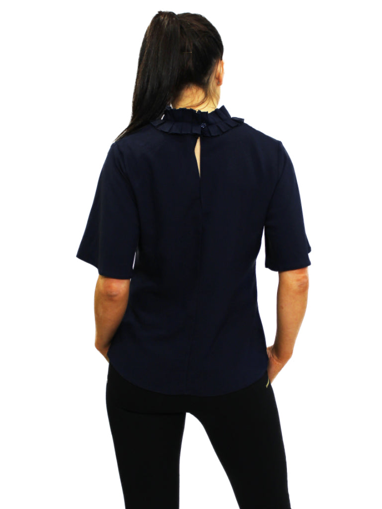 Navy bow neck top