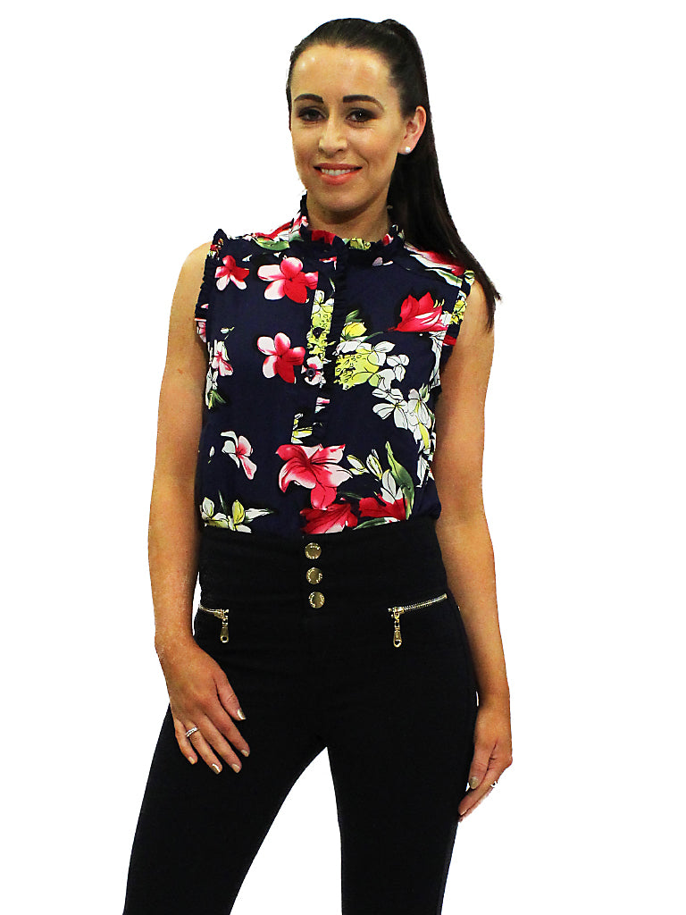 Navy floral high necked top