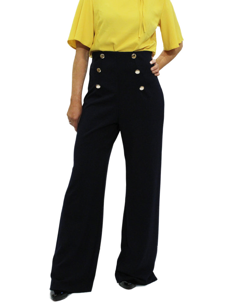 Navy high waisted wide leg trousers