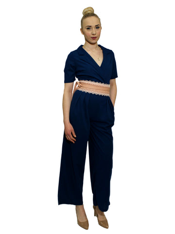 Navy and pink print 3/4 length jumpsuit