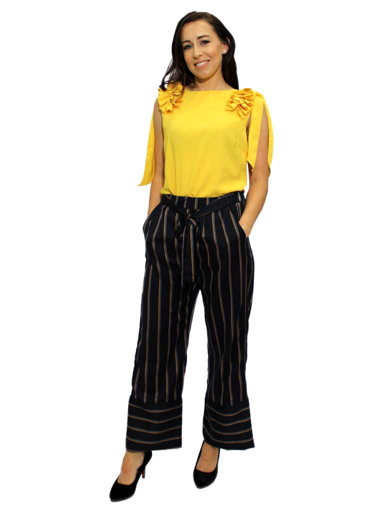 Navy and orange stripe gaucho trousers