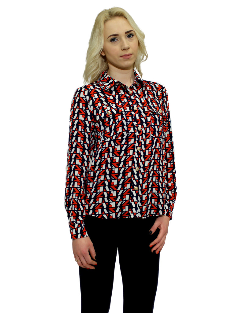 Navy and red print long sleeve top