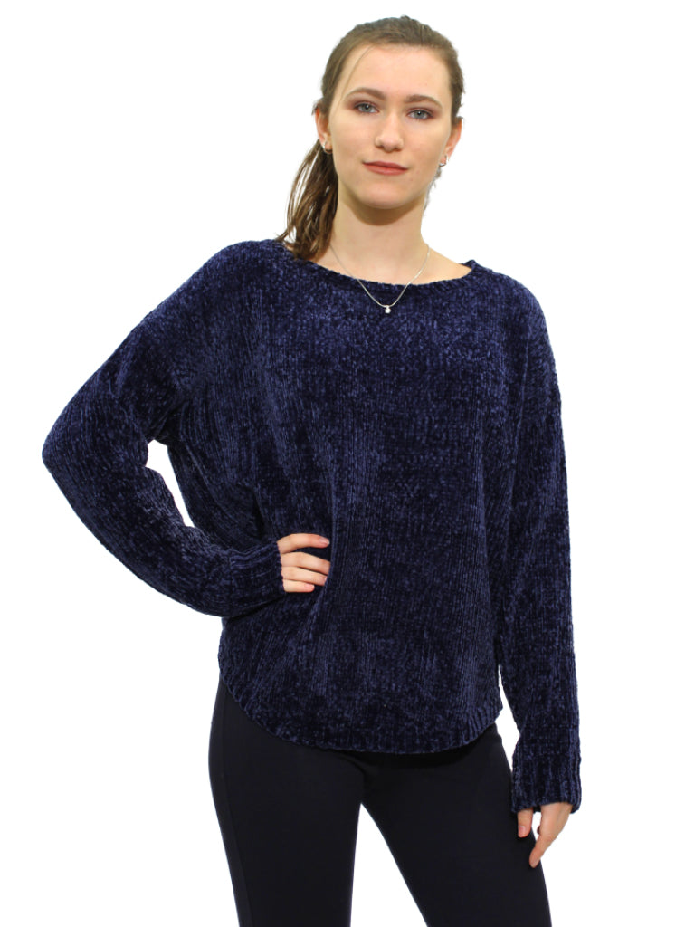 Navy suede feel knit jumper