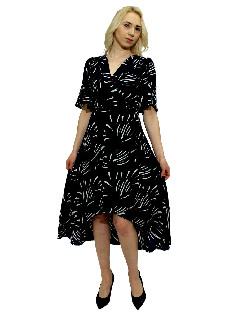 Navy and white print wrap over dress