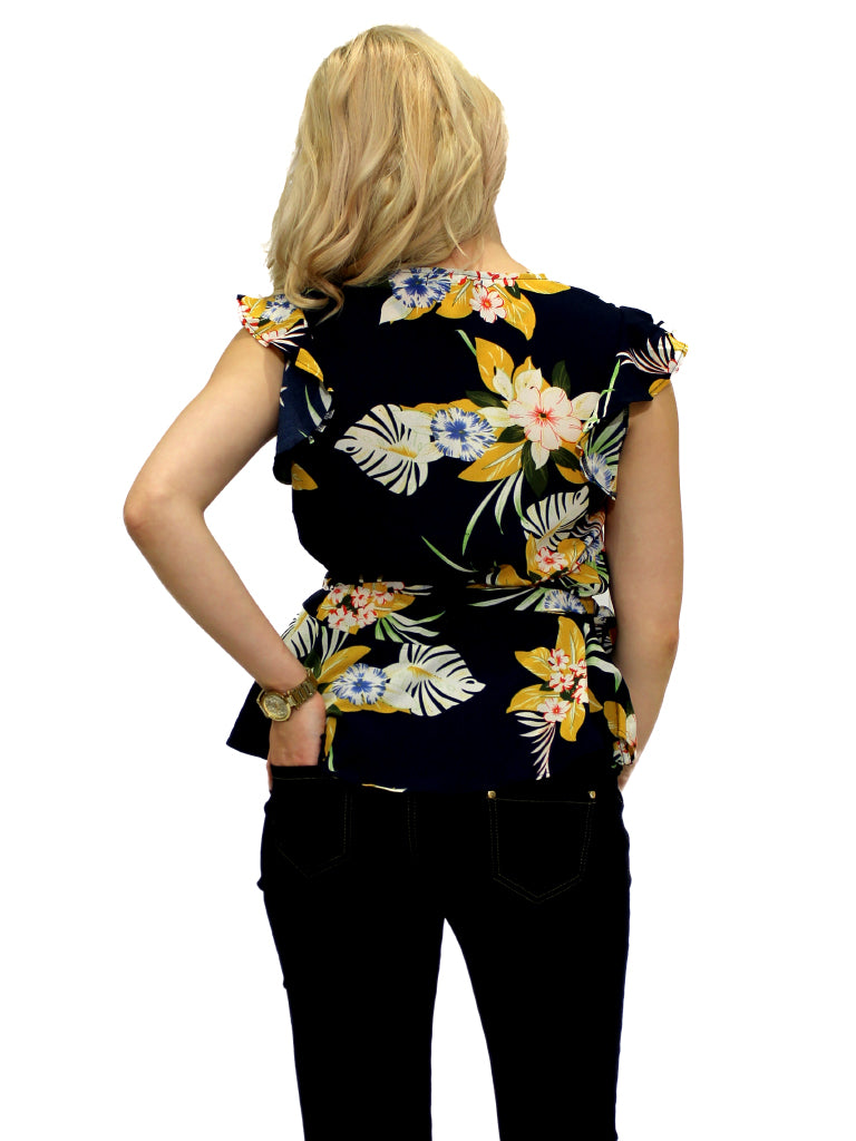 Navy and yellow floral print cross over top