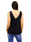 Navy cami top with scalloped edgings thick straps