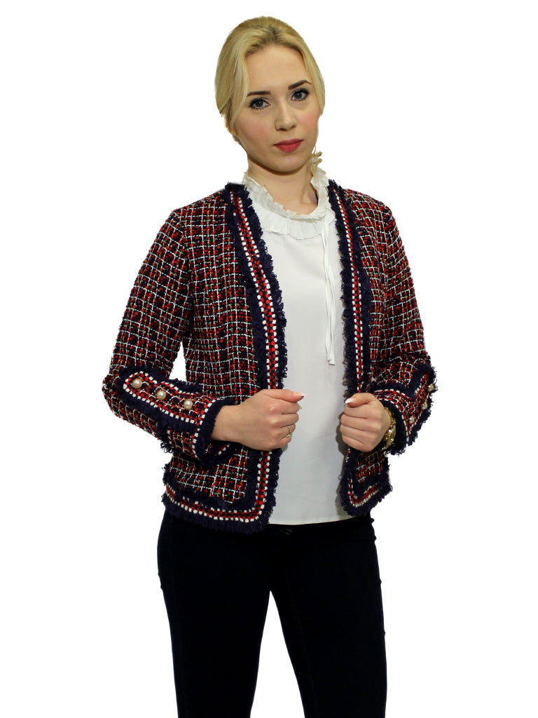 Red and navy tweed Chanel blazer