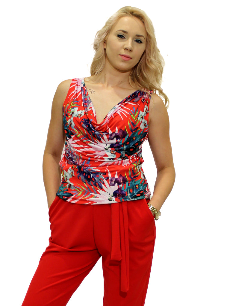 Red tropical print cowl neck body top