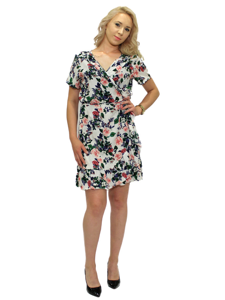 fba4d4be71d8 White floral cross over summer dress – Don Racine