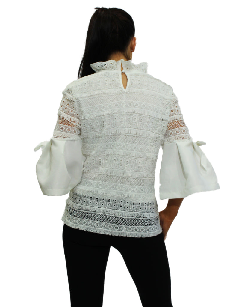 White high neck lace top with bell sleeves