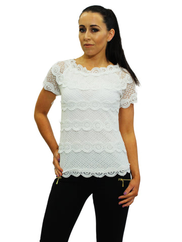 Baby Blue Crochet Overlay Top with Pearl Collar