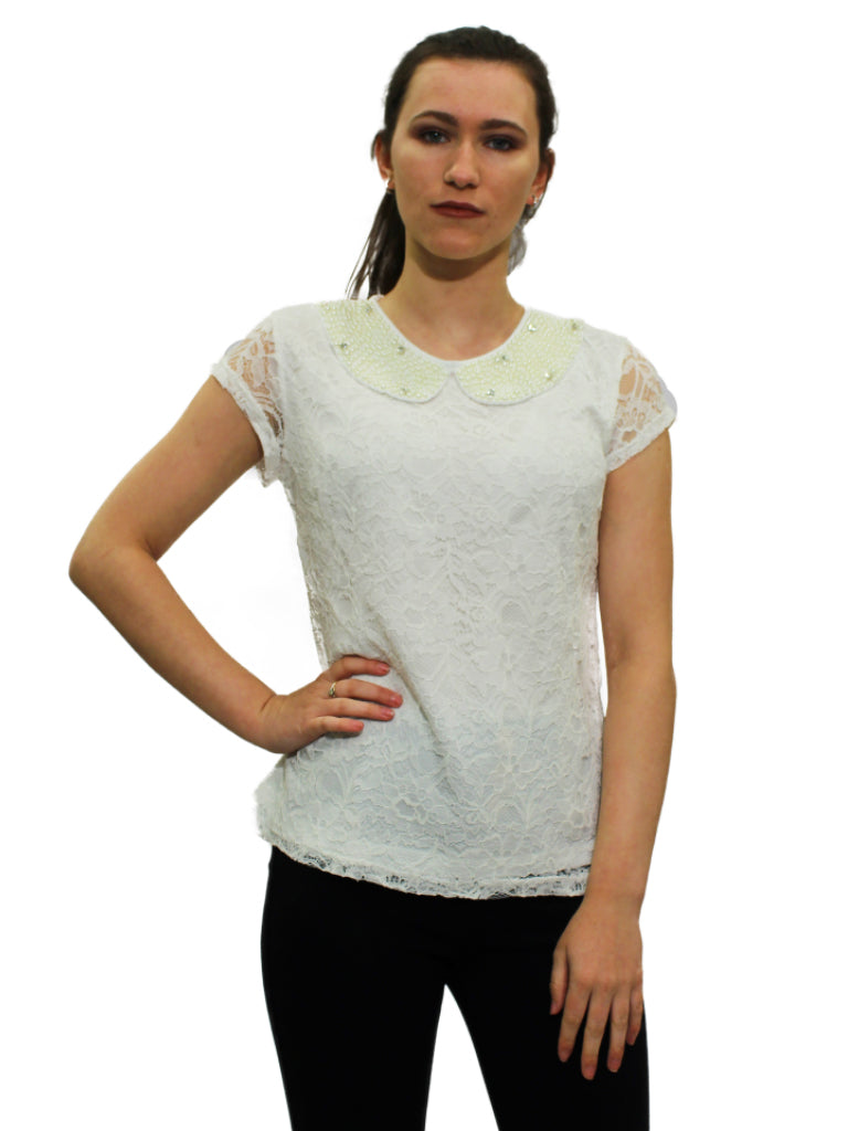 White lace top with pearl pixie collar
