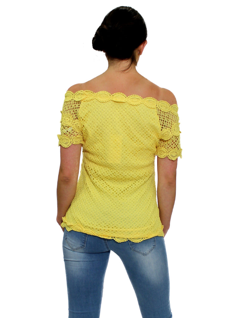 Yellow lace top with elastic neckline