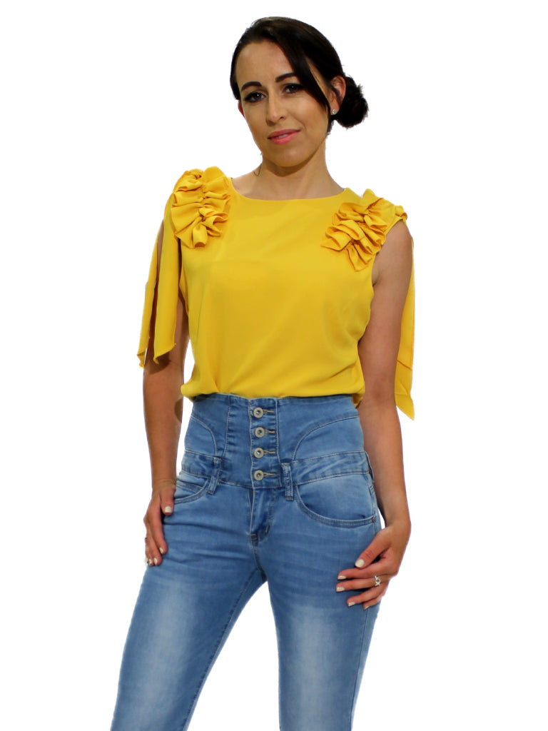 Yellow ruffle on shoulder top