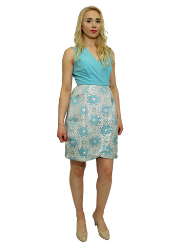 Teal and coral floral print closet dress