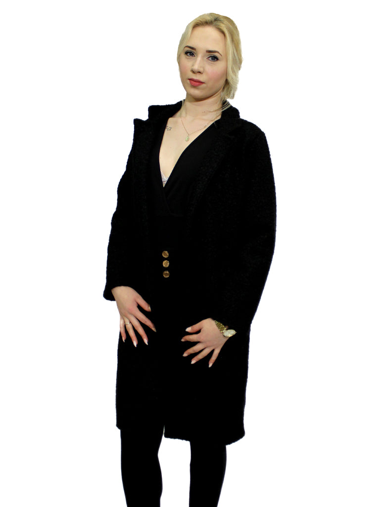 Black faux wool coat