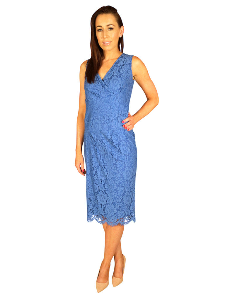 Lace Overlay dress, Midi length, V-Neck, Sky Blue.