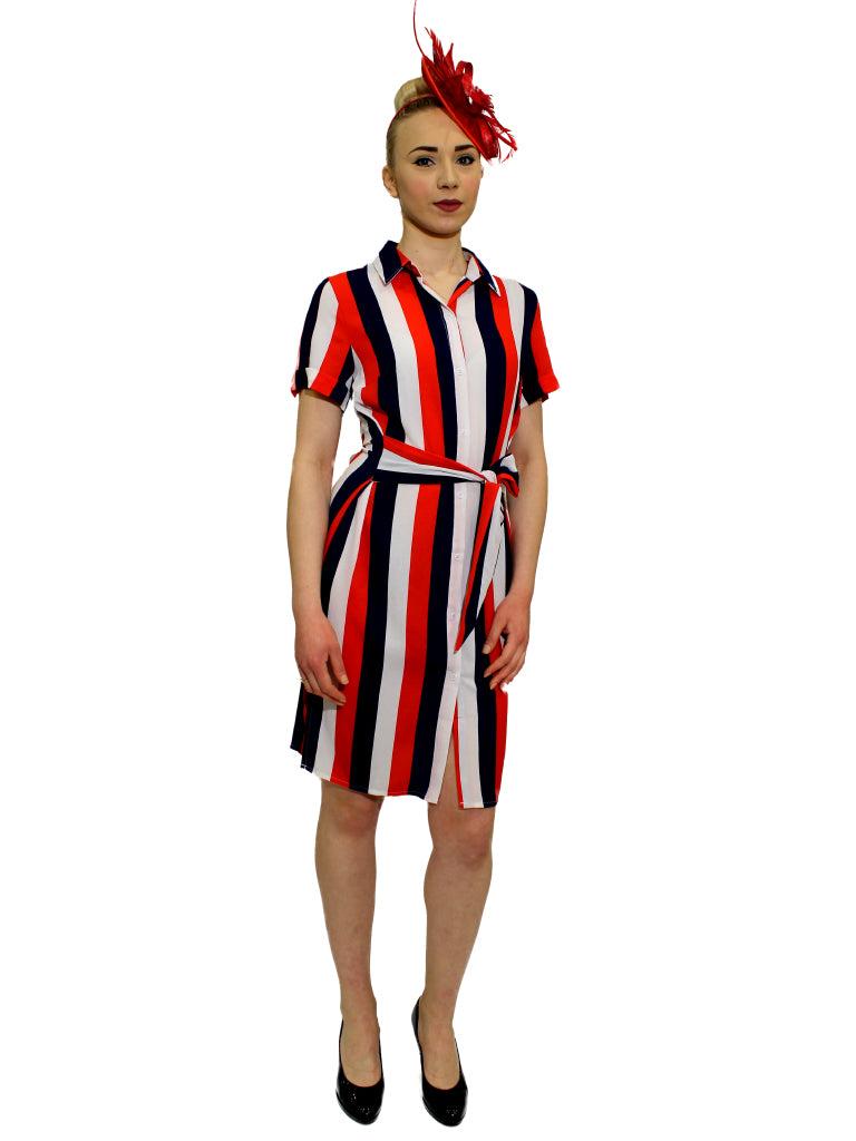 Red,white and navy stripe shirt dress