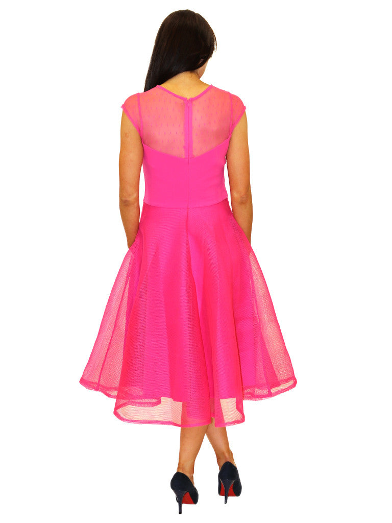 cerise pink swing dress with heavy lace