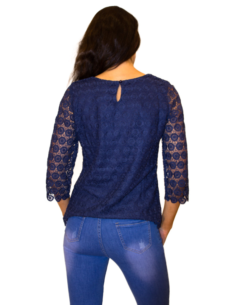 crochet roundneck navy scalloped edge top