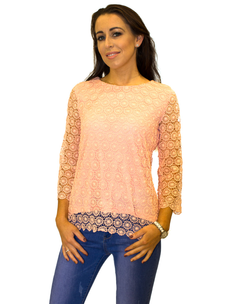 crochet roundneck peach scalloped edge top