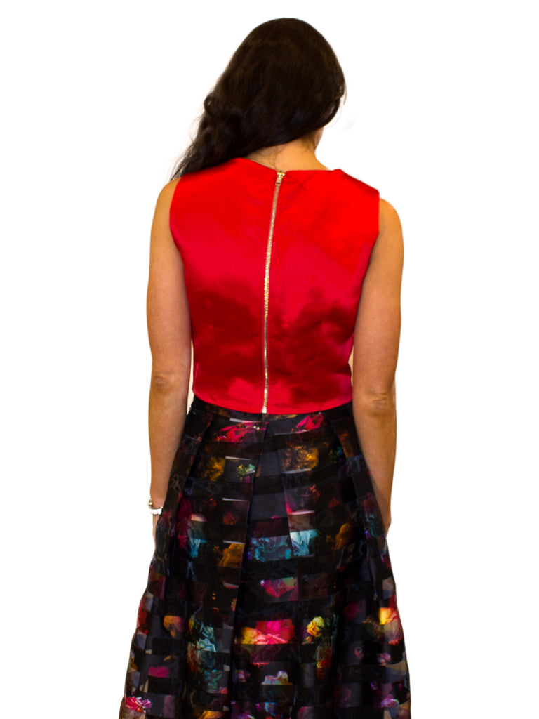 cropped red satin roundneck top