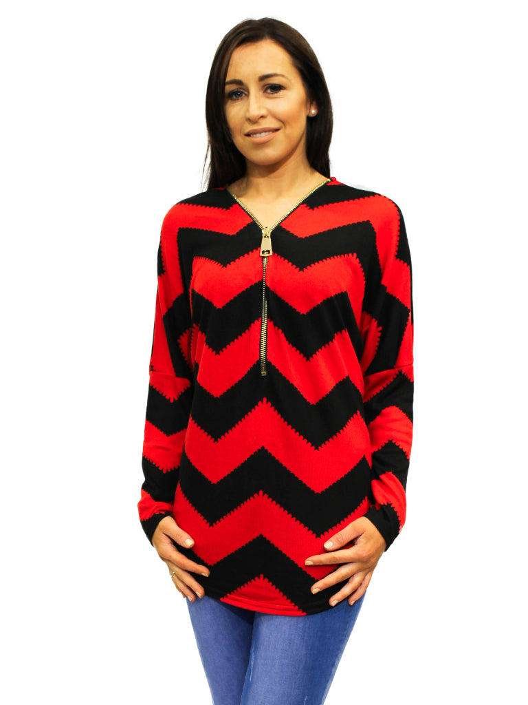 diagonal design red and black zip top