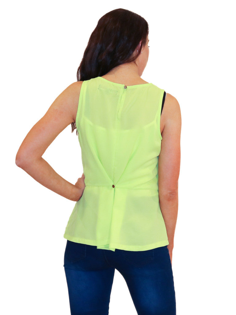 lime green sleeveless top