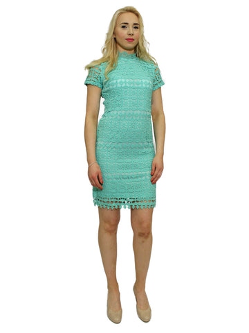Teal long sleeved lace dress