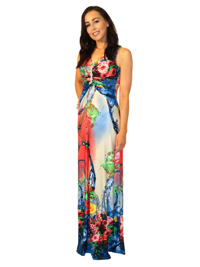 Maxi dress Deep open back Padded bust Multi coloured Silver link detail under bust Ruffled waist