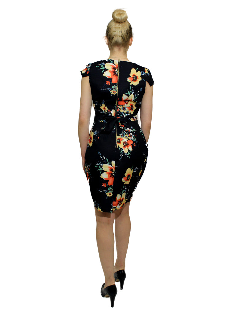 Navy/yellow/coral floral print bucket pocket dress