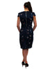 navy satin effect bird print dress