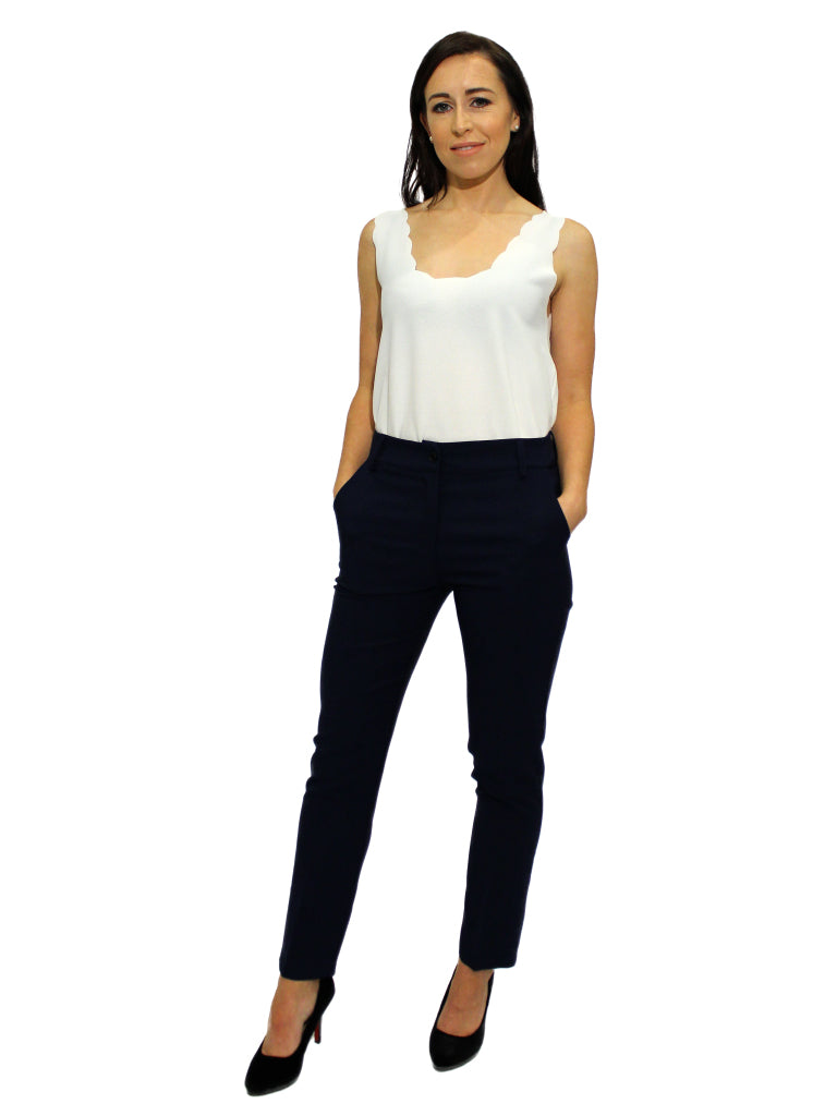 Navy fitted trousers