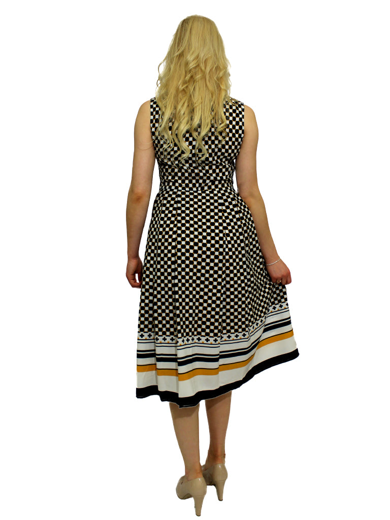 A-Line dress, yellow,navy and white