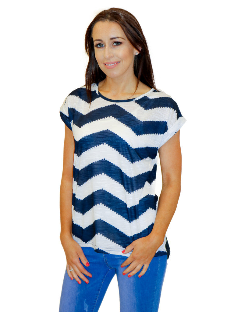 navy white zig zag top