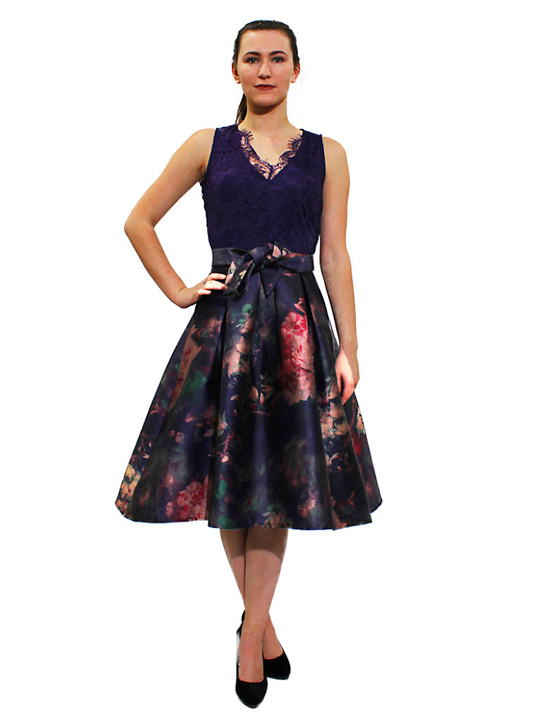 purple lace taffeta skater heather print