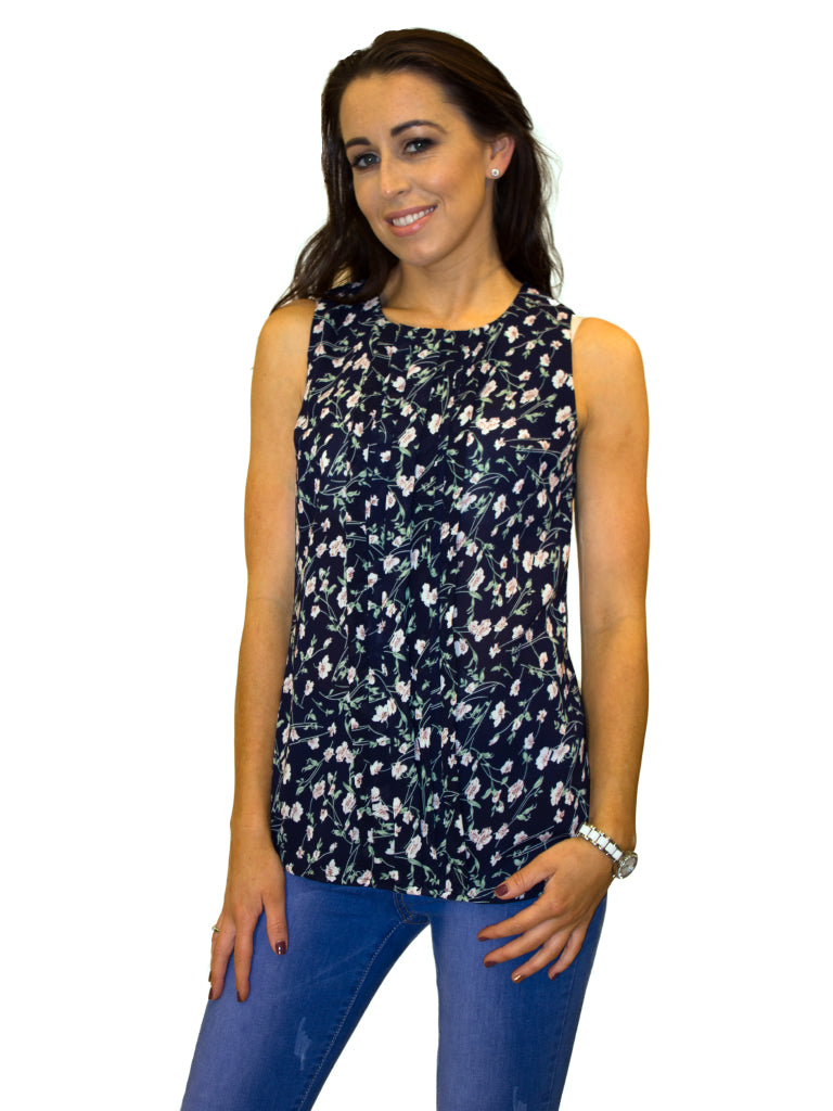 sleeveless transparent pleated floral print navy top