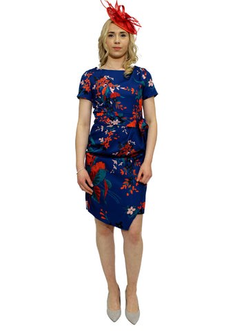 Navy and pink floral print wrap style dress