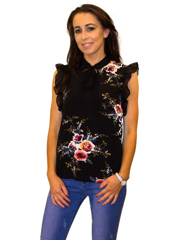 Black and pink floral zip top