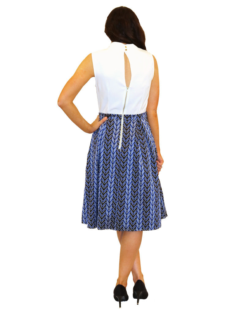 vintage style flared knot tie cream blue black dress