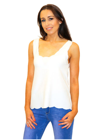 White Sleeveless Crochet Overlay Top
